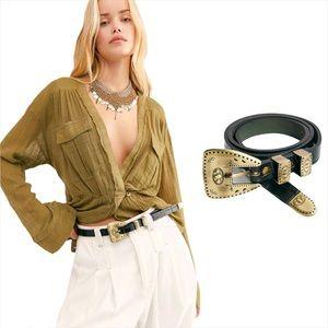 Free People Celina Croc Embossed Leather Belt